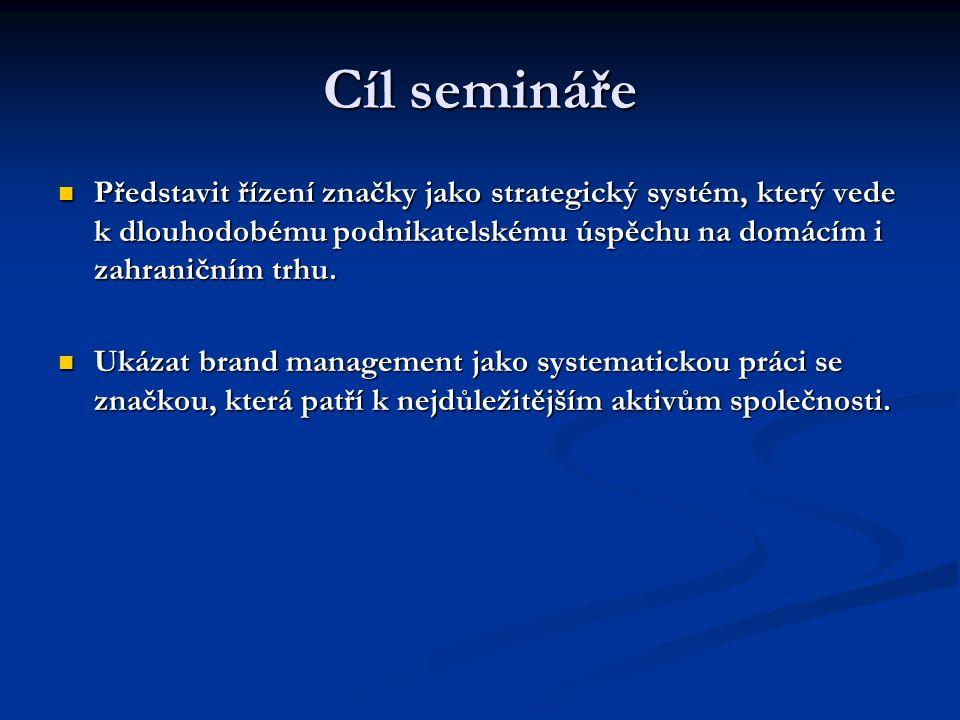 Cíl semináře Představit řízení značky jako strategický systém, který vede k dlouhodobému podnikatelskému úspěchu na domácím i zahraničním trhu. Předst