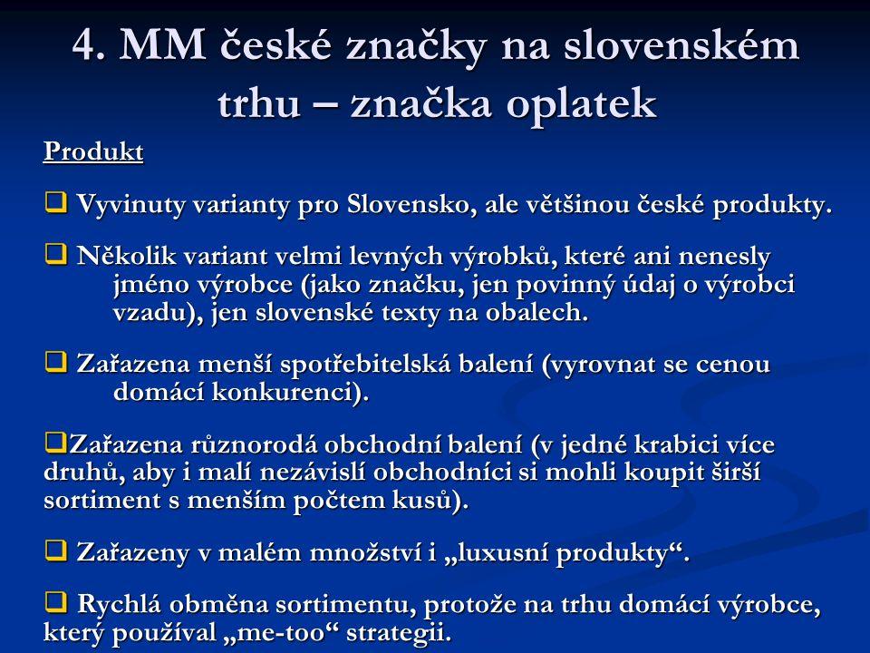 4. MM české značky na slovenském trhu – značka oplatek Produkt  Vyvinuty varianty pro Slovensko, ale většinou české produkty.  Několik variant velmi