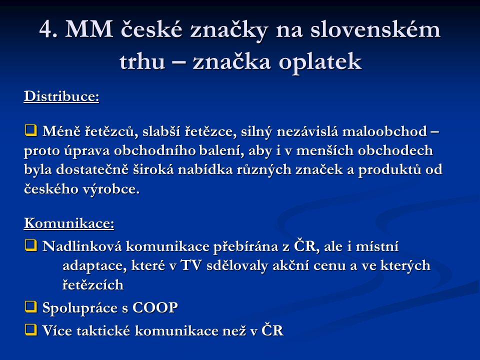 4. MM české značky na slovenském trhu – značka oplatek Distribuce:  Méně řetězců, slabší řetězce, silný nezávislá maloobchod – proto úprava obchodníh