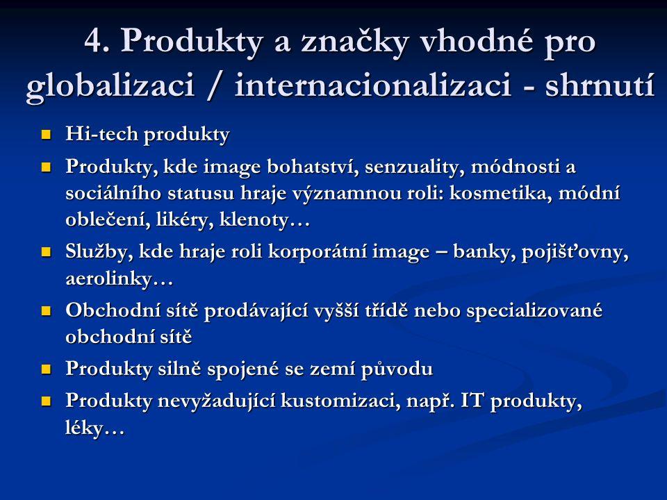 4. Produkty a značky vhodné pro globalizaci / internacionalizaci - shrnutí Hi-tech produkty Hi-tech produkty Produkty, kde image bohatství, senzuality