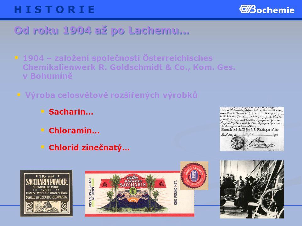Od roku 1904 až po Lachemu…  Sacharin…  Chloramin…  1904 – založení společnosti Österreichisches Chemikalienwerk R.