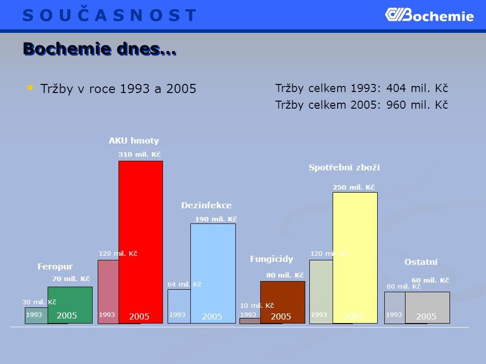  Tržby v roce 1993 a 2005 Bochemie dnes… 70 mil. Kč 80 mil.