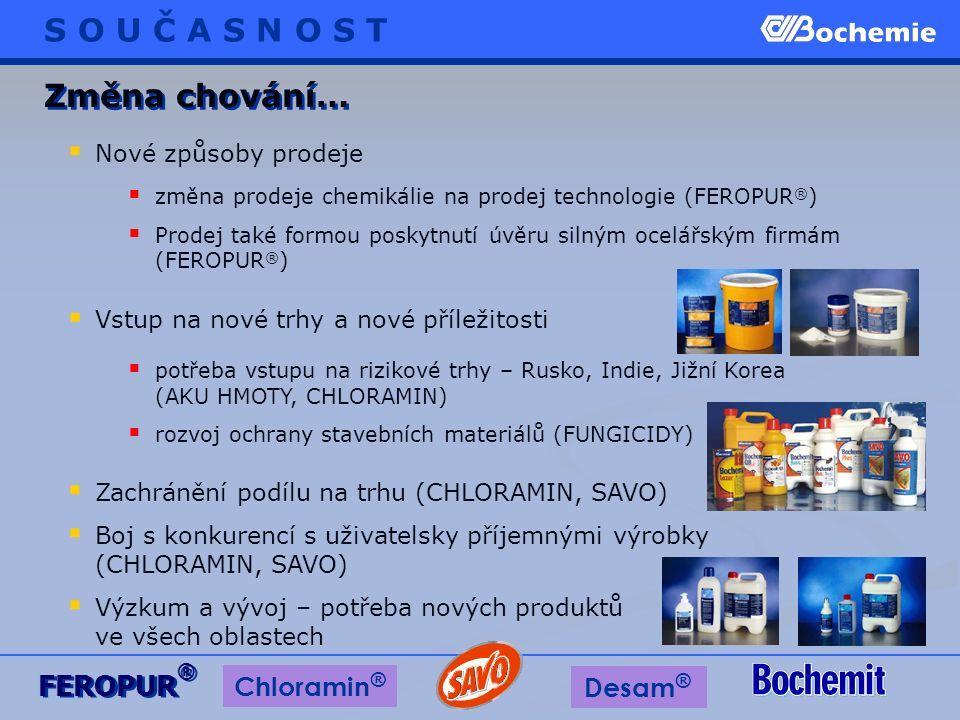  změna prodeje chemikálie na prodej technologie (FEROPUR ® )  Prodej také formou poskytnutí úvěru silným ocelářským firmám (FEROPUR ® )  Nové způso