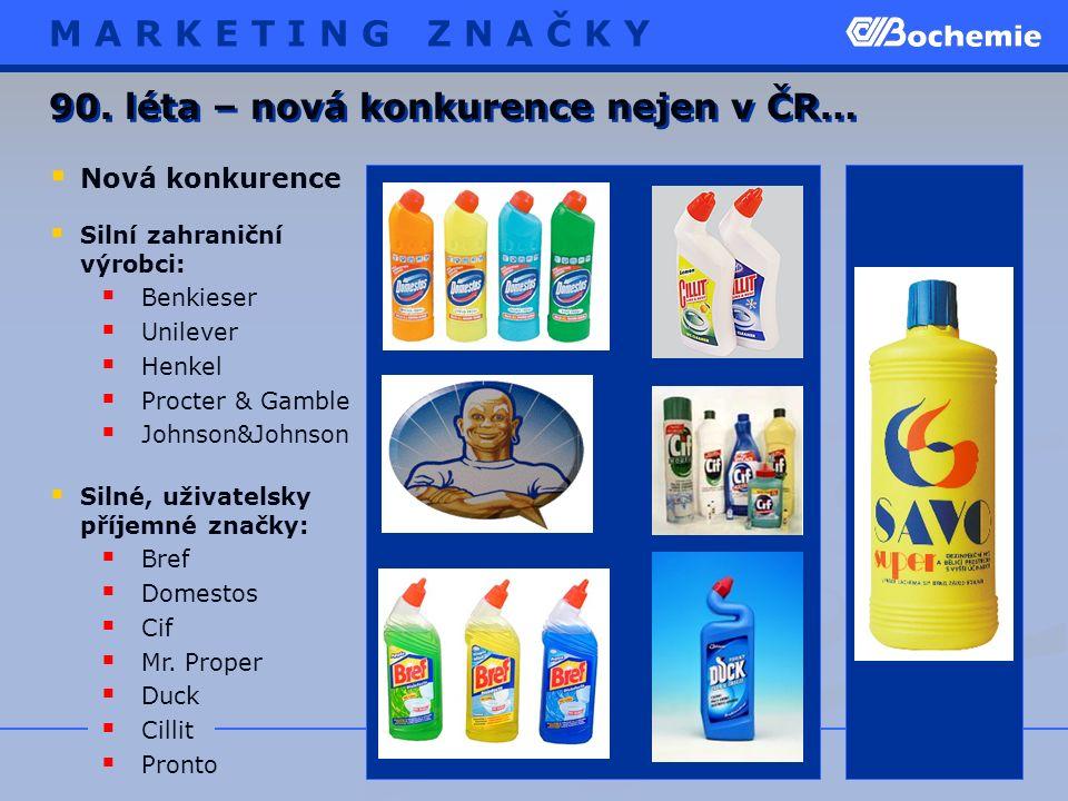  Silní zahraniční výrobci:  Benkieser  Unilever  Henkel  Procter & Gamble  Johnson&Johnson  Silné, uživatelsky příjemné značky:  Bref  Domestos  Cif  Mr.