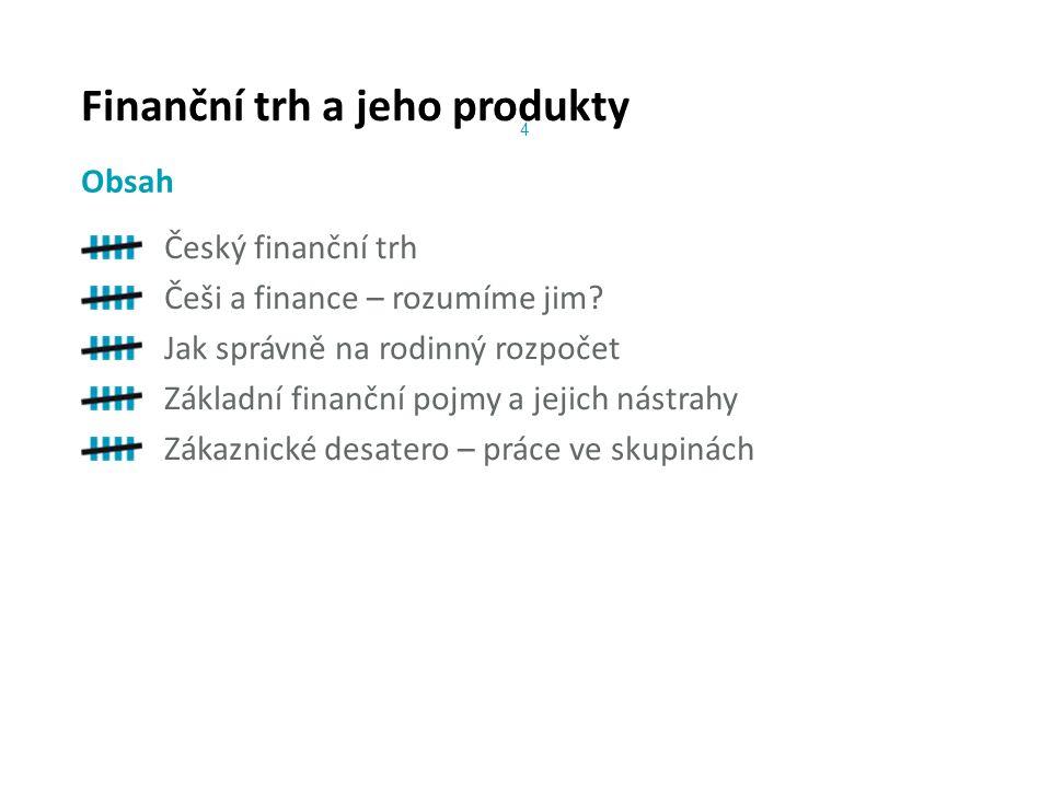 Finanční trh a jeho produkty Český finanční trh Češi a finance – rozumíme jim.