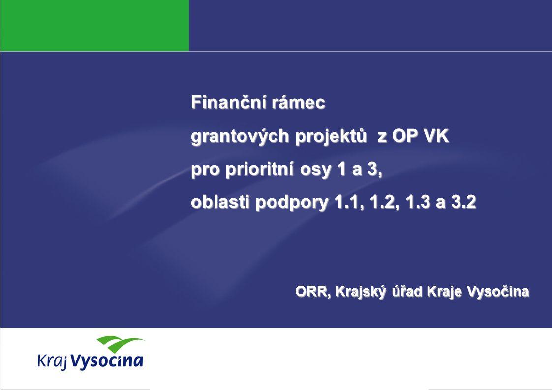Aneta Marková Finanční rámec grantových projektů z OP VK pro prioritní osy 1 a 3, oblasti podpory 1.1, 1.2, 1.3 a 3.2 ORR, Krajský úřad Kraje Vysočina