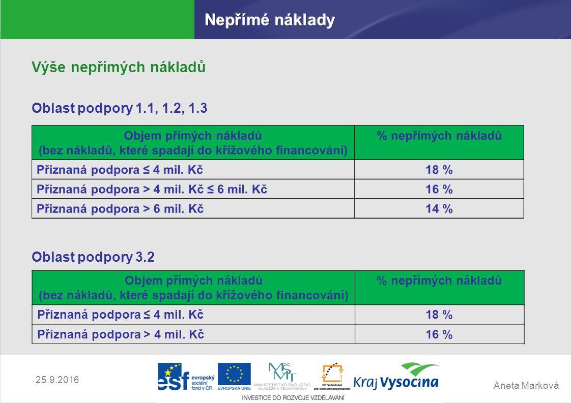 Aneta Marková 25.9.2016 Výše nepřímých nákladů Oblast podpory 1.1, 1.2, 1.3 Oblast podpory 3.2 Objem přímých nákladů (bez nákladů, které spadají do kř