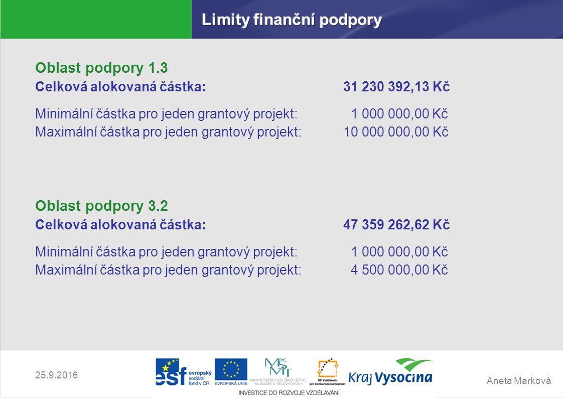 Aneta Marková 25.9.2016 Oblast podpory 1.3 Celková alokovaná částka:31 230 392,13 Kč Minimální částka pro jeden grantový projekt: 1 000 000,00 Kč Maxi