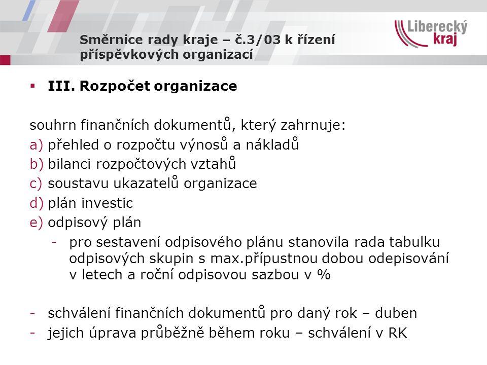 Směrnice rady kraje – č.3/03 k řízení příspěvkových organizací  III.