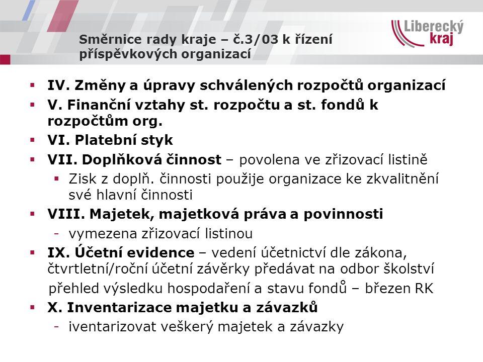 Směrnice rady kraje – č.3/03 k řízení příspěvkových organizací  IV.