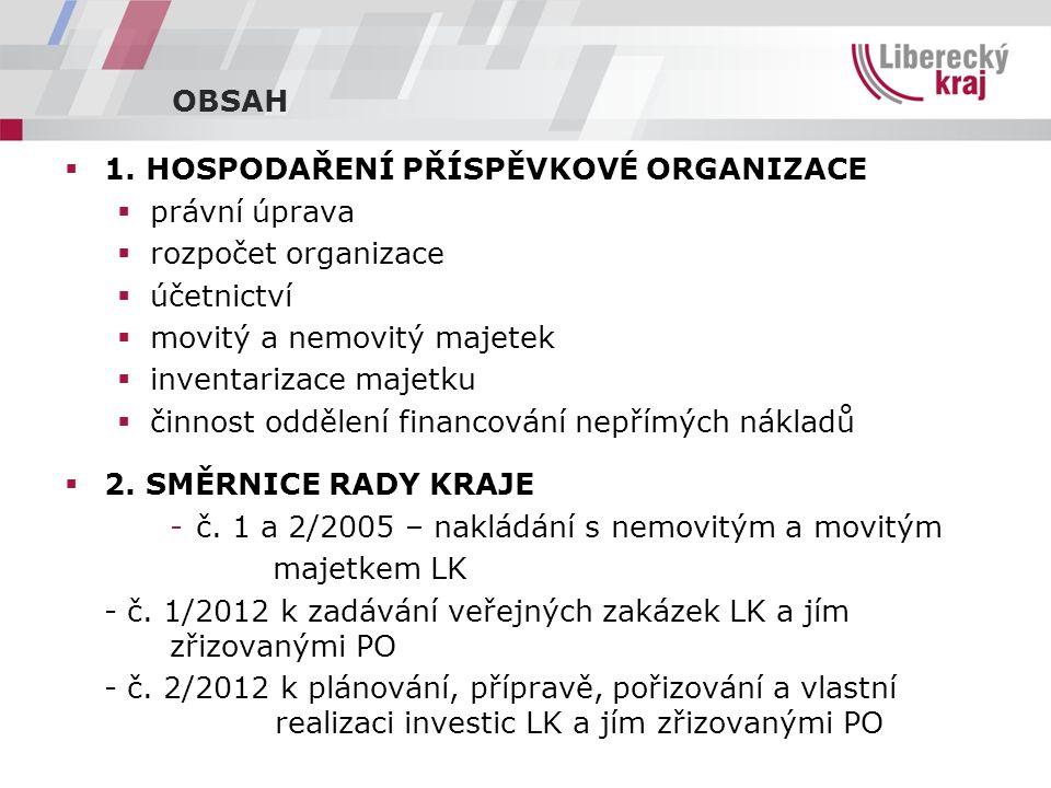 HOSPODAŘENÍ PŘÍSPĚVKOVÉ ORGANIZACE Právní úprava -Zákon č.