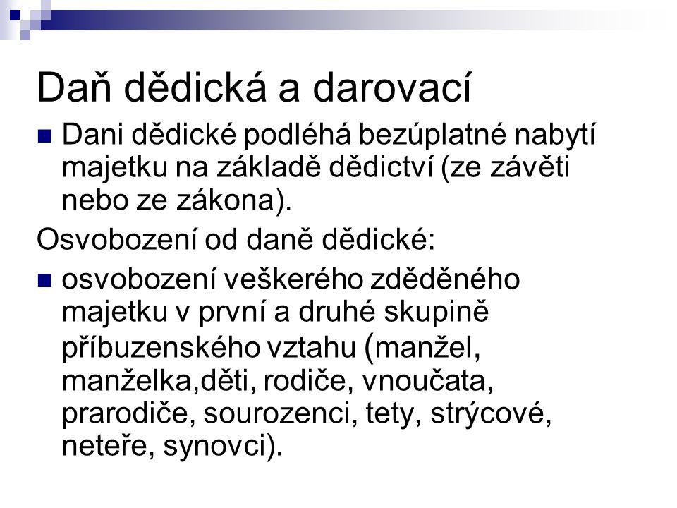 Daň dědická a darovací Dani dědické podléhá bezúplatné nabytí majetku na základě dědictví (ze závěti nebo ze zákona).