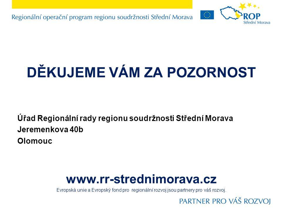 DĚKUJEME VÁM ZA POZORNOST Úřad Regionální rady regionu soudržnosti Střední Morava Jeremenkova 40b Olomouc www.rr-strednimorava.cz Evropská unie a Evropský fond pro regionální rozvoj jsou partnery pro váš rozvoj.