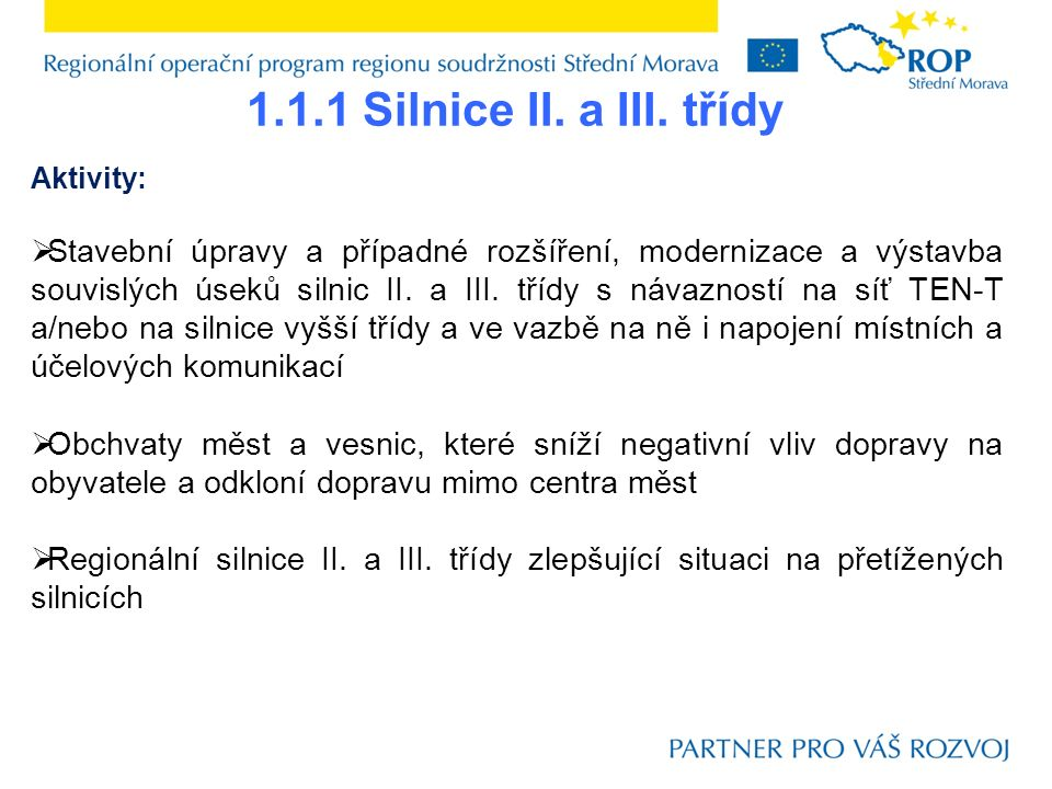 1.1.1 Silnice II.a III.