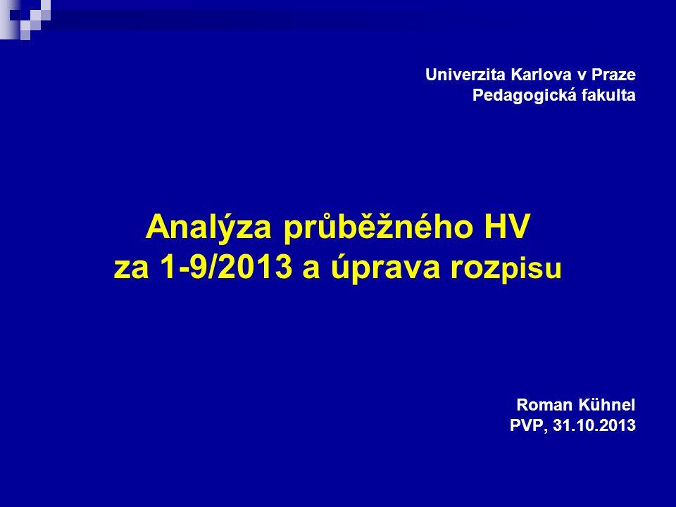 Univerzita Karlova v Praze Pedagogická fakulta Analýza průběžného HV za 1-9/2013 a úprava roz pisu Roman Kühnel PVP, 31.10.2013