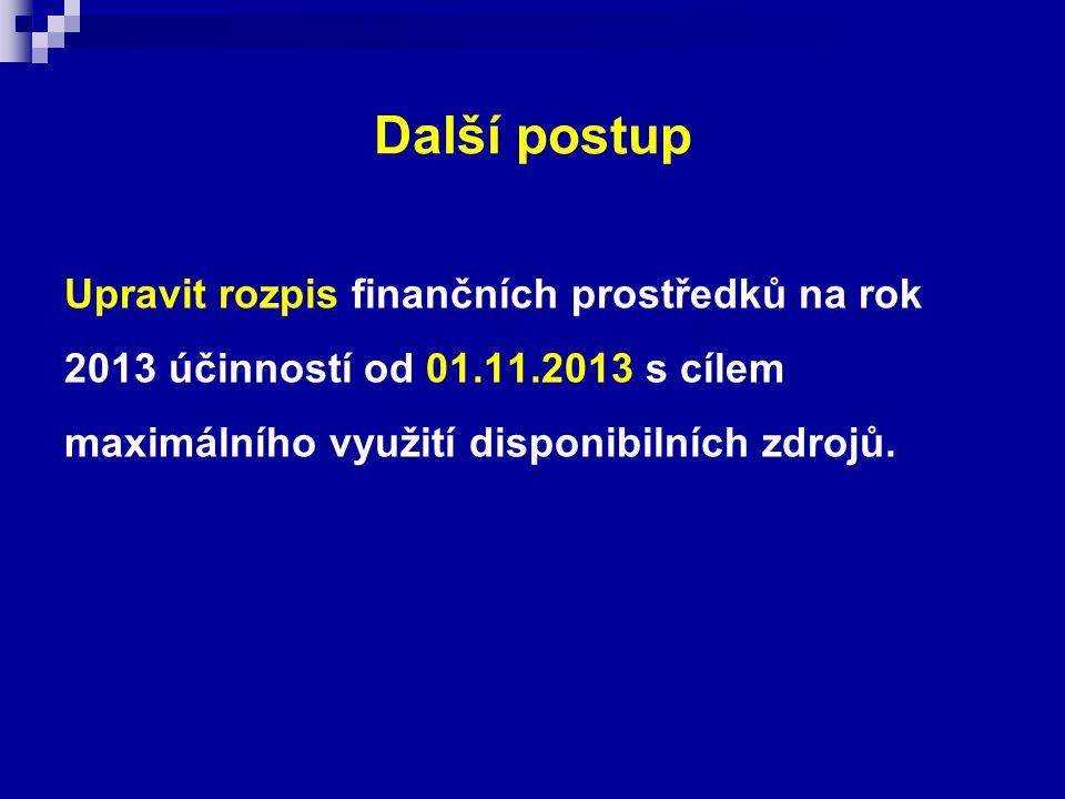 Další postup Upravit rozpis finančních prostředků na rok 2013 účinností od 01.11.2013 s cílem maximálního využití disponibilních zdrojů.
