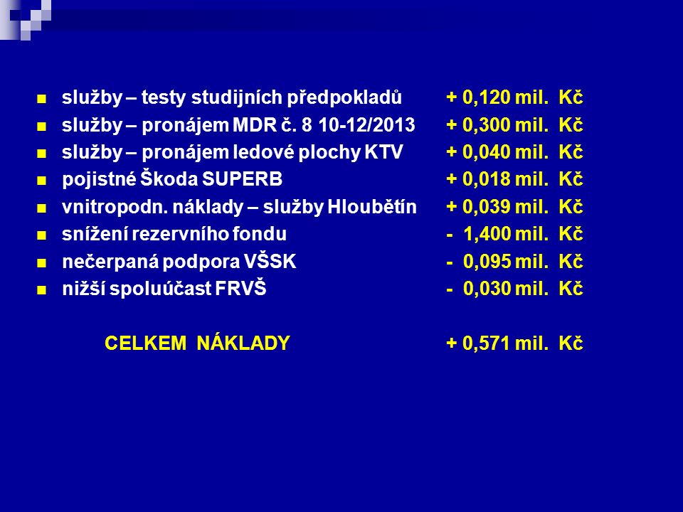 služby – testy studijních předpokladů + 0,120 mil. Kč služby – pronájem MDR č. 8 10-12/2013 + 0,300 mil. Kč služby – pronájem ledové plochy KTV + 0,04