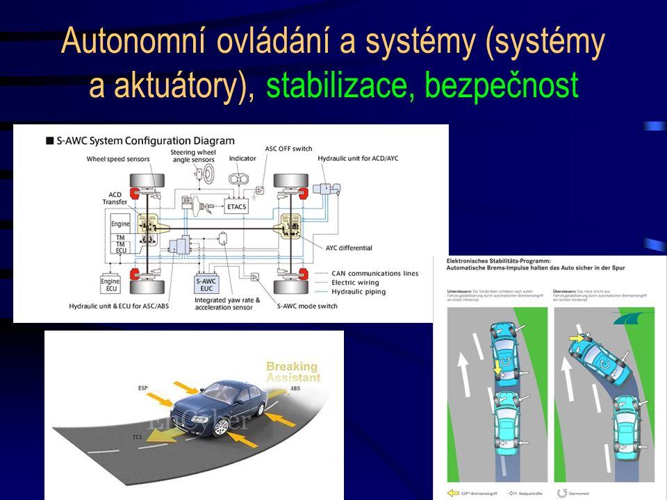 Autonomní ovládání a systémy (systémy a aktuátory), stabilizace, bezpečnost