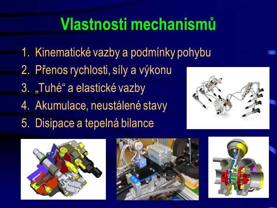 """Vlastnosti mechanismů 1.Kinematické vazby a podmínky pohybu 2.Přenos rychlosti, síly a výkonu 3.""""Tuhé"""" a elastické vazby 4.Akumulace, neustálené stavy"""