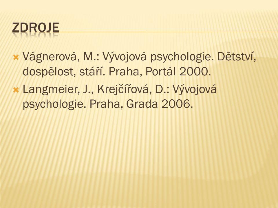  Vágnerová, M.: Vývojová psychologie. Dětství, dospělost, stáří. Praha, Portál 2000.  Langmeier, J., Krejčířová, D.: Vývojová psychologie. Praha, Gr