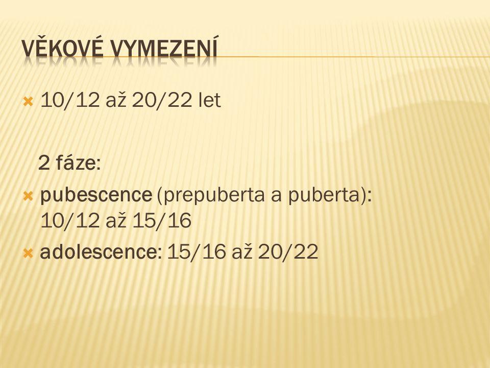  10/12 až 20/22 let 2 fáze:  pubescence (prepuberta a puberta): 10/12 až 15/16  adolescence: 15/16 až 20/22