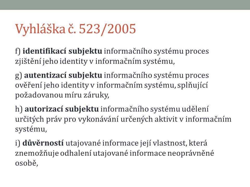 Vyhláška č. 523/2005 f) identifikací subjektu informačního systému proces zjištění jeho identity v informačním systému, g) autentizací subjektu inform