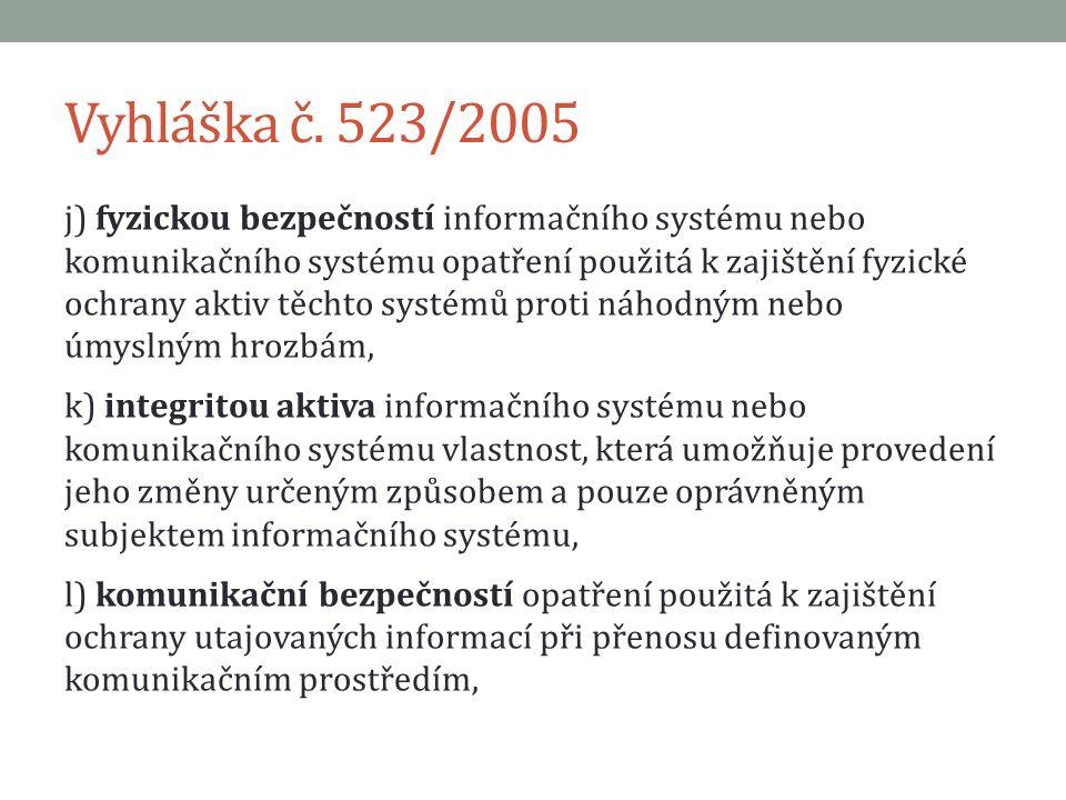 Vyhláška č. 523/2005 j) fyzickou bezpečností informačního systému nebo komunikačního systému opatření použitá k zajištění fyzické ochrany aktiv těchto