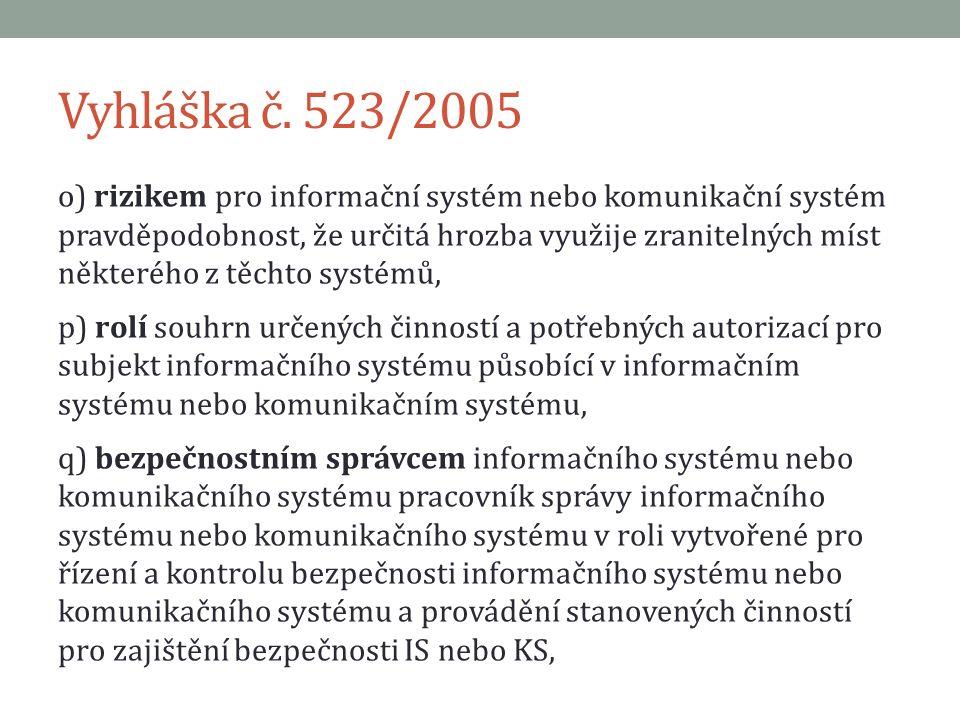 Vyhláška č. 523/2005 o) rizikem pro informační systém nebo komunikační systém pravděpodobnost, že určitá hrozba využije zranitelných míst některého z