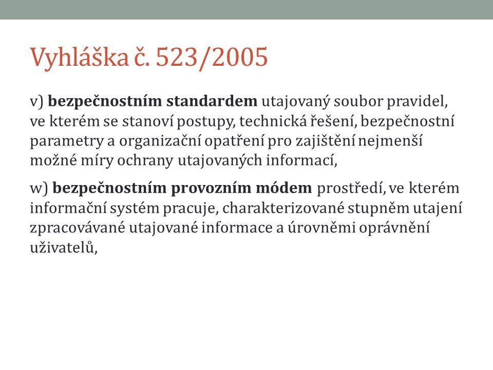 Vyhláška č. 523/2005 v) bezpečnostním standardem utajovaný soubor pravidel, ve kterém se stanoví postupy, technická řešení, bezpečnostní parametry a o