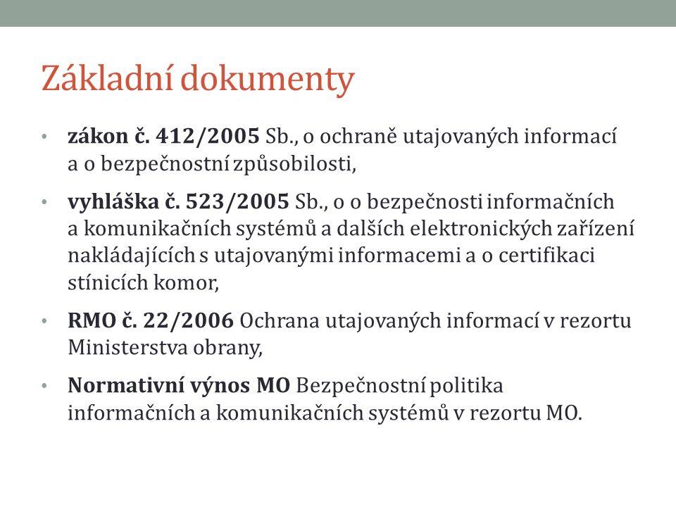 Základní dokumenty zákon č. 412/2005 Sb., o ochraně utajovaných informací a o bezpečnostní způsobilosti, vyhláška č. 523/2005 Sb., o o bezpečnosti inf