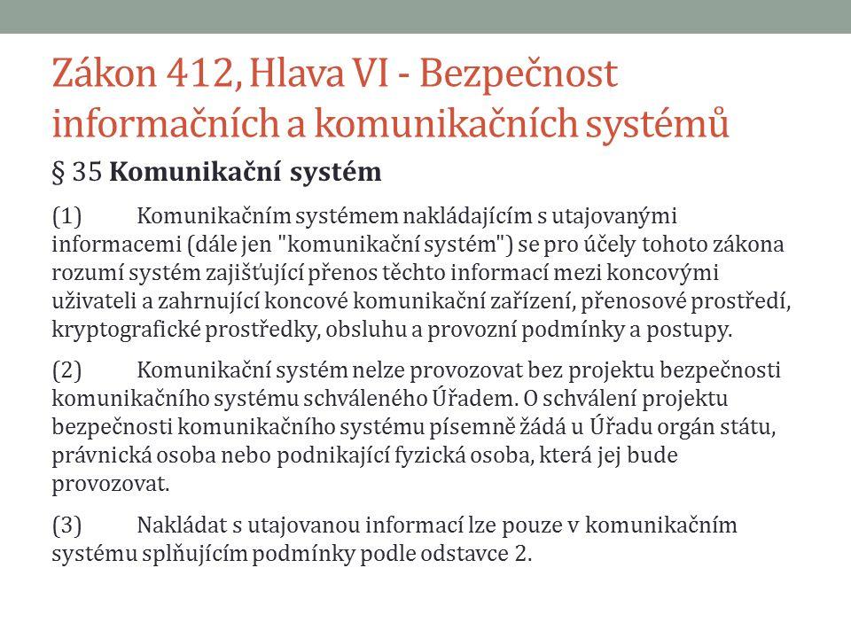 Zákon 412, Hlava VI - Bezpečnost informačních a komunikačních systémů § 35 Komunikační systém (4)Komunikační systém musí být písemně schválen do provozu odpovědnou osobou nebo jí pověřenou osobou.
