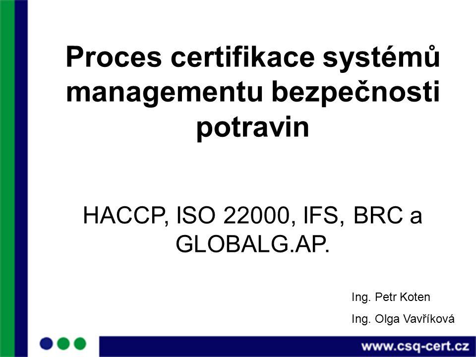Proces certifikace systémů managementu bezpečnosti potravin HACCP, ISO 22000, IFS, BRC a GLOBALG.AP.