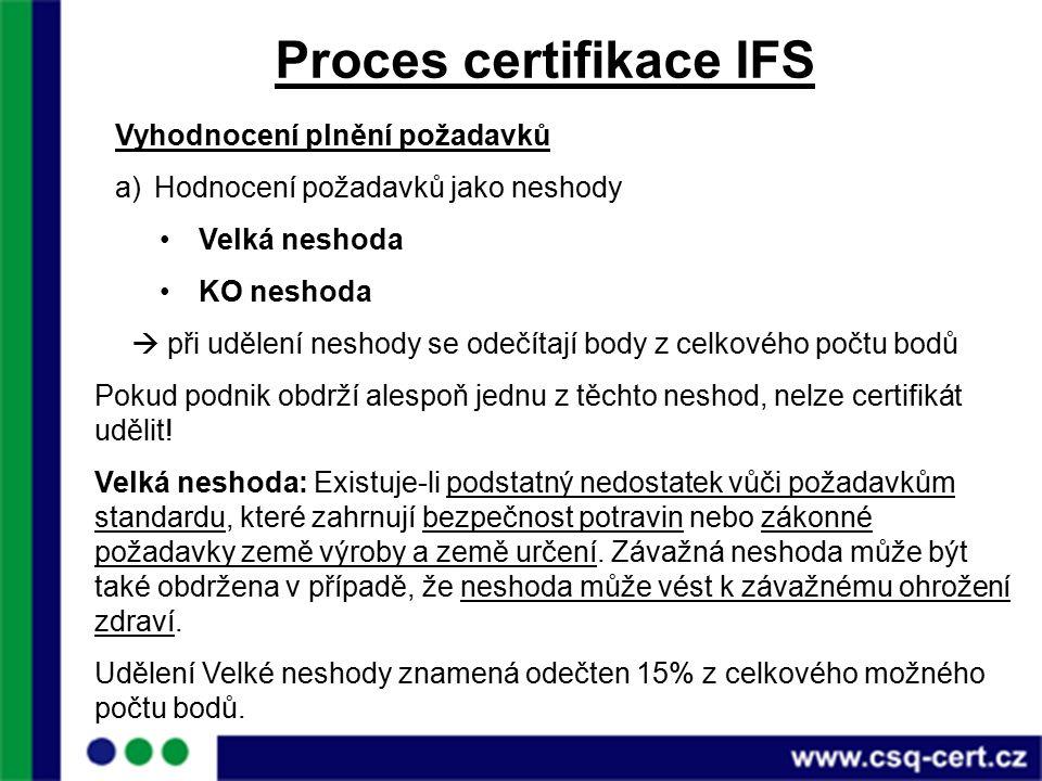 Proces certifikace IFS Vyhodnocení plnění požadavků a)Hodnocení požadavků jako neshody Velká neshoda KO neshoda  při udělení neshody se odečítají body z celkového počtu bodů Pokud podnik obdrží alespoň jednu z těchto neshod, nelze certifikát udělit.