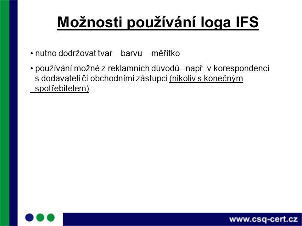 Možnosti používání loga IFS nutno dodržovat tvar – barvu – měřítko používání možné z reklamních důvodů– např.