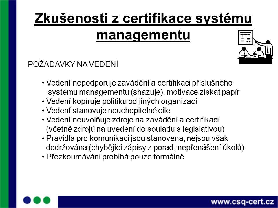 Zkušenosti z certifikace systému managementu POŽADAVKY NA VEDENÍ Vedení nepodporuje zavádění a certifikaci příslušného systému managementu (shazuje), motivace získat papír Vedení kopíruje politiku od jiných organizací Vedení stanovuje neuchopitelné cíle Vedení neuvolňuje zdroje na zavádění a certifikaci (včetně zdrojů na uvedení do souladu s legislativou) Pravidla pro komunikaci jsou stanovena, nejsou však dodržována (chybějící zápisy z porad, nepřenášení úkolů) Přezkoumávání probíhá pouze formálně