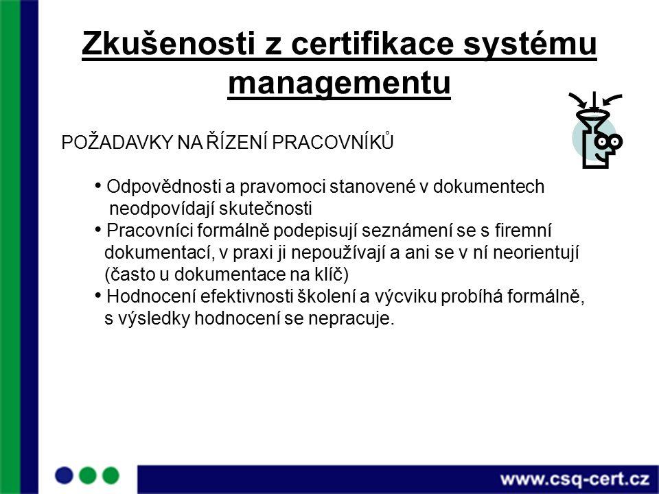 Zkušenosti z certifikace systému managementu POŽADAVKY NA ŘÍZENÍ PRACOVNÍKŮ Odpovědnosti a pravomoci stanovené v dokumentech neodpovídají skutečnosti Pracovníci formálně podepisují seznámení se s firemní dokumentací, v praxi ji nepoužívají a ani se v ní neorientují (často u dokumentace na klíč) Hodnocení efektivnosti školení a výcviku probíhá formálně, s výsledky hodnocení se nepracuje.
