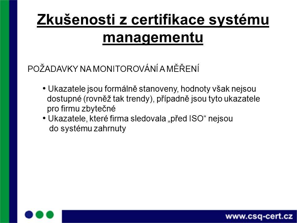 """Zkušenosti z certifikace systému managementu POŽADAVKY NA MONITOROVÁNÍ A MĚŘENÍ Ukazatele jsou formálně stanoveny, hodnoty však nejsou dostupné (rovněž tak trendy), případně jsou tyto ukazatele pro firmu zbytečné Ukazatele, které firma sledovala """"před ISO nejsou do systému zahrnuty"""