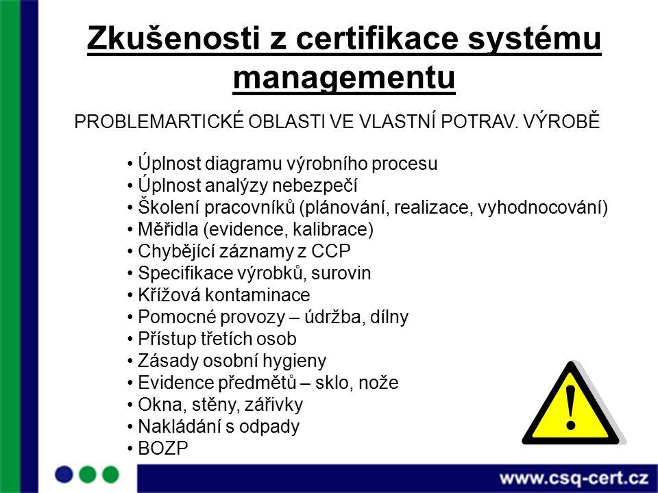 Zkušenosti z certifikace systému managementu PROBLEMARTICKÉ OBLASTI VE VLASTNÍ POTRAV.