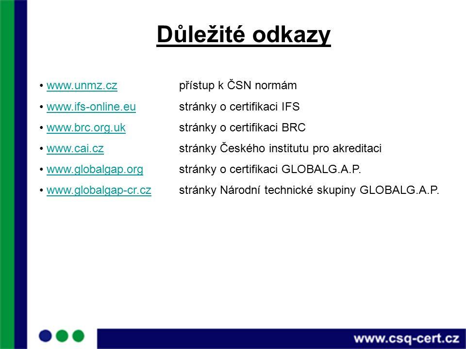 Důležité odkazy www.unmz.czpřístup k ČSN normámwww.unmz.cz www.ifs-online.eustránky o certifikaci IFSwww.ifs-online.eu www.brc.org.ukstránky o certifikaci BRCwww.brc.org.uk www.cai.cz stránky Českého institutu pro akreditaciwww.cai.cz www.globalgap.orgstránky o certifikaci GLOBALG.A.P.www.globalgap.org www.globalgap-cr.czstránky Národní technické skupiny GLOBALG.A.P.www.globalgap-cr.cz