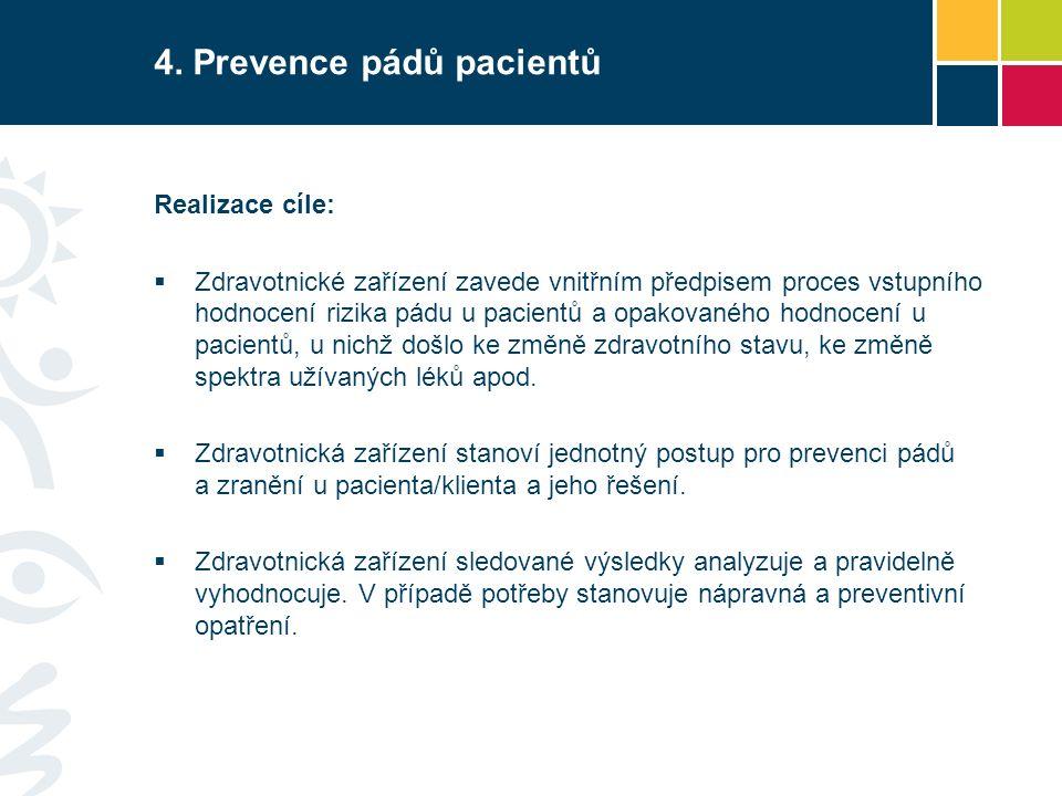 Realizace cíle:  Zdravotnické zařízení zavede vnitřním předpisem proces vstupního hodnocení rizika pádu u pacientů a opakovaného hodnocení u pacientů