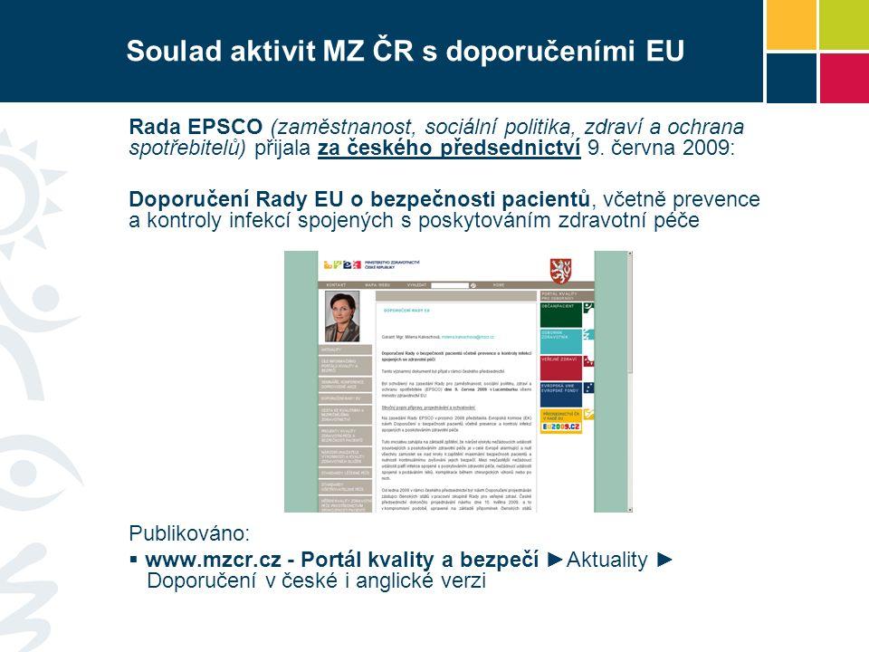 Soulad aktivit MZ ČR s doporučeními EU Rada EPSCO (zaměstnanost, sociální politika, zdraví a ochrana spotřebitelů) přijala za českého předsednictví 9.