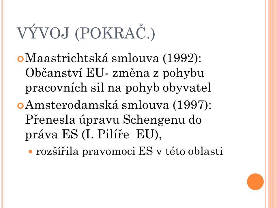 VÝVOJ (POKRAČ.) Maastrichtská smlouva (1992): Občanství EU- změna z pohybu pracovních sil na pohyb obyvatel Amsterodamská smlouva (1997): Přenesla úpravu Schengenu do práva ES (I.