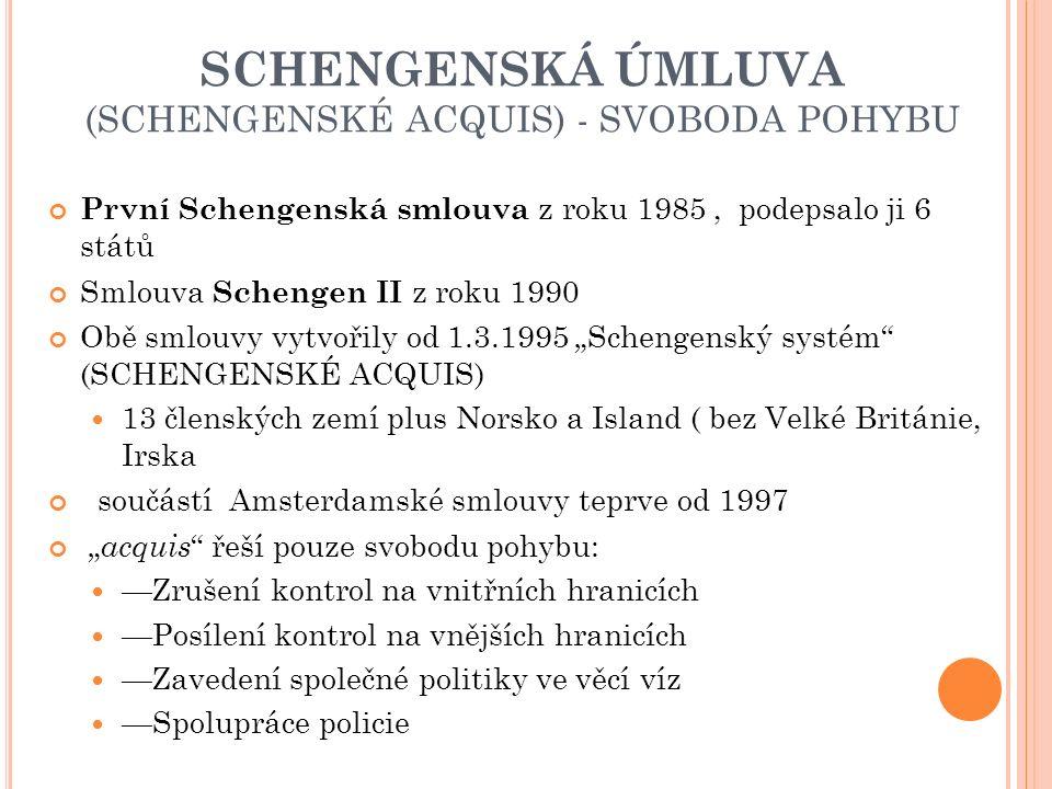 """SCHENGENSKÁ ÚMLUVA (SCHENGENSKÉ ACQUIS) - SVOBODA POHYBU První Schengenská smlouva z roku 1985, podepsalo ji 6 států Smlouva Schengen II z roku 1990 Obě smlouvy vytvořily od 1.3.1995 """"Schengenský systém (SCHENGENSKÉ ACQUIS) 13 členských zemí plus Norsko a Island ( bez Velké Británie, Irska součástí Amsterdamské smlouvy teprve od 1997 """" acquis řeší pouze svobodu pohybu: —Zrušení kontrol na vnitřních hranicích —Posílení kontrol na vnějších hranicích —Zavedení společné politiky ve věcí víz —Spolupráce policie"""
