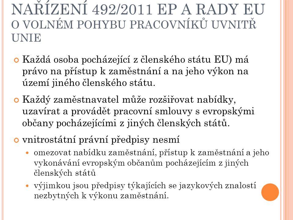 NAŘÍZENÍ 492/2011 EP A RADY EU O VOLNÉM POHYBU PRACOVNÍKŮ UVNITŘ UNIE Každá osoba pocházející z členského státu EU) má právo na přístup k zaměstnání a na jeho výkon na území jiného členského státu.