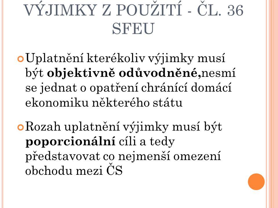 VÝJIMKY Z POUŽITÍ - ČL.