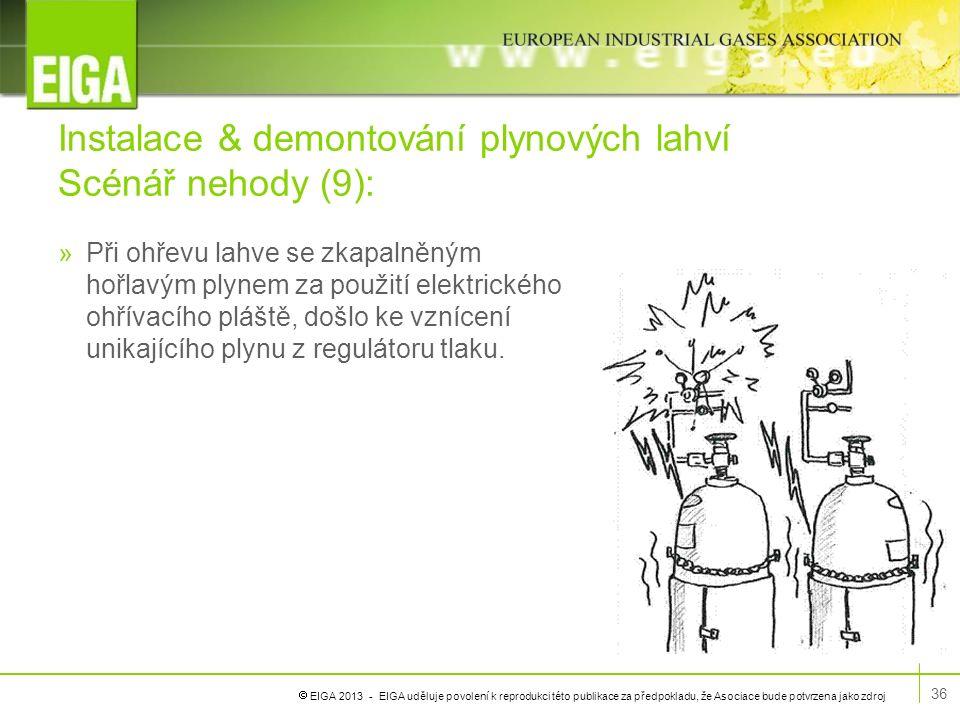  EIGA 2013 - EIGA uděluje povolení k reprodukci této publikace za předpokladu, že Asociace bude potvrzena jako zdroj Instalace & demontování plynovýc