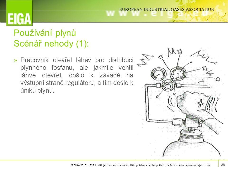  EIGA 2013 - EIGA uděluje povolení k reprodukci této publikace za předpokladu, že Asociace bude potvrzena jako zdroj Používání plynů Scénář nehody (1