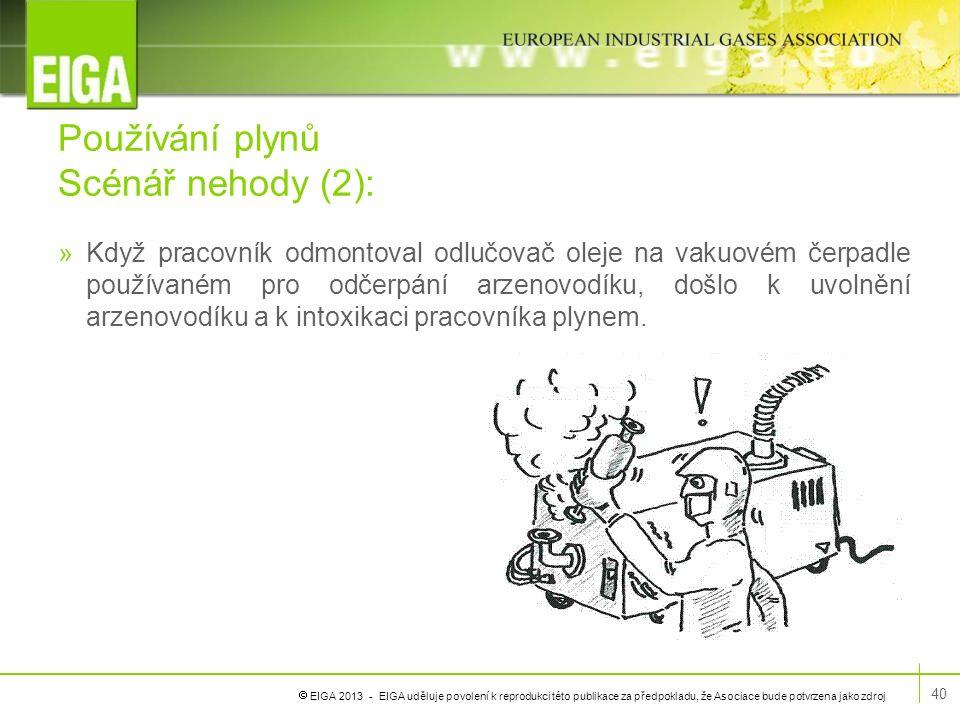  EIGA 2013 - EIGA uděluje povolení k reprodukci této publikace za předpokladu, že Asociace bude potvrzena jako zdroj Používání plynů Scénář nehody (2