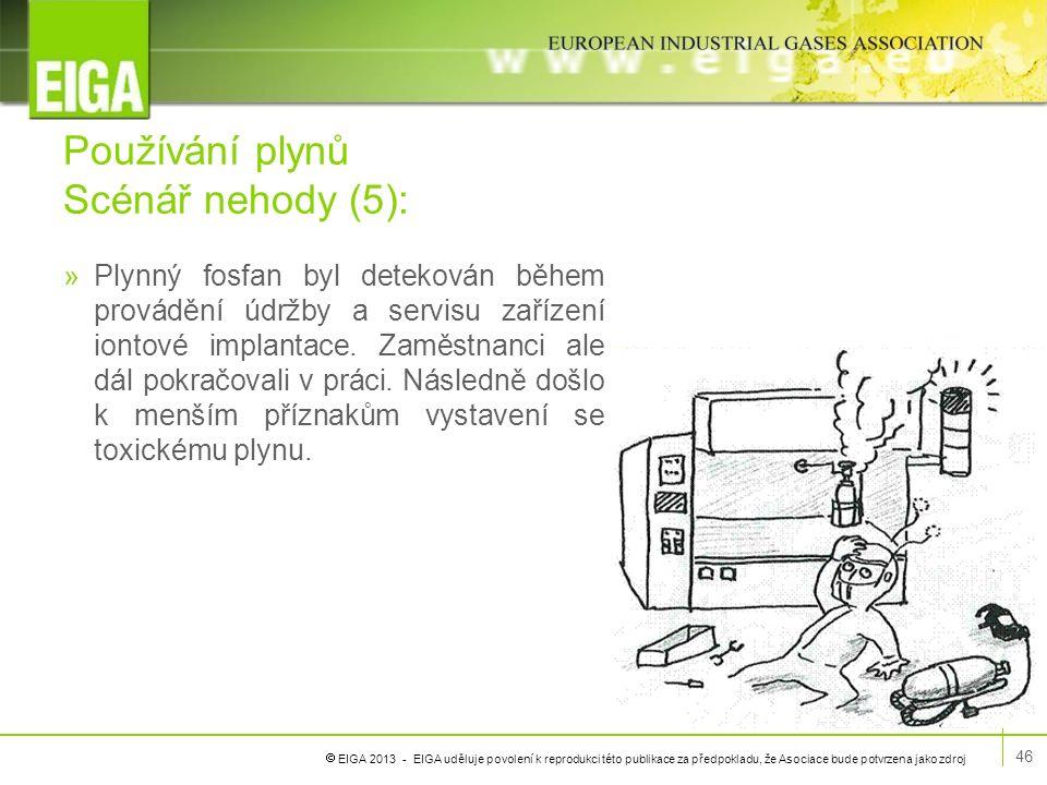  EIGA 2013 - EIGA uděluje povolení k reprodukci této publikace za předpokladu, že Asociace bude potvrzena jako zdroj Používání plynů Scénář nehody (5