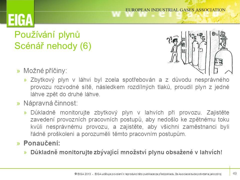  EIGA 2013 - EIGA uděluje povolení k reprodukci této publikace za předpokladu, že Asociace bude potvrzena jako zdroj Používání plynů Scénář nehody (6